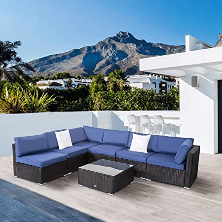 Amazon.com: Peach Tree Outdoor Furniture All-Weather Sectional .