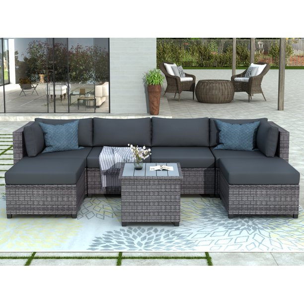 Clearance! Outdoor Patio Sectional Sofa Sets, SEGMART Newest 7 .