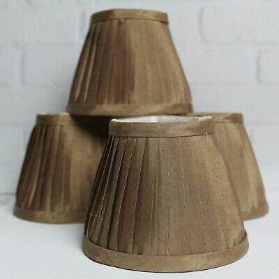 Set of 4 Chandelier Lamp Shades Bronze Cream Interior Silk Clip On .