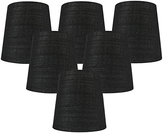 Meriville Set of 6 Black Linen Clip On Chandelier Lamp Shades, 4 .
