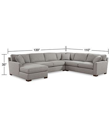 Furniture CLOSEOUT! Carena 4-Pc. Fabric Sectional Sofa with Chaise .