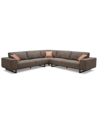 "CLOSEOUT! Laser 123"" 3-Pc. Fabric Sectional Sofa 