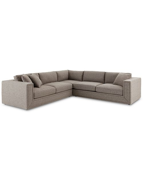 "Furniture CLOSEOUT! Dulovo 127"" 3-Pc. Fabric Sectional Sofa ."
