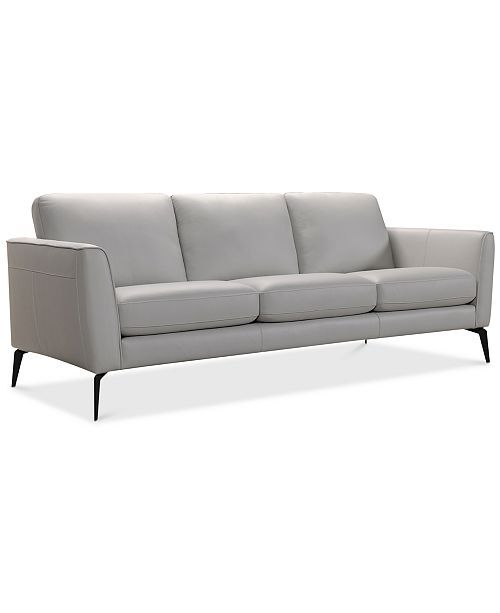 "Furniture CLOSEOUT! Renleigh 86"" Leather Sofa, Created for Macy's ."