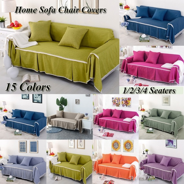 1/2/3/4 Seaters Solid Color Sofa Cover Slip-resistant Furniture .