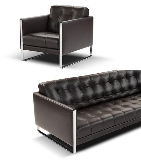 Modern Luxury Sofas | Juliet Silver Trim Premium Leather Sofa & Cha