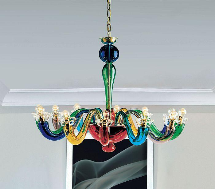 Leucos multi-coloured glass chandelier | modern colourful ceiling .