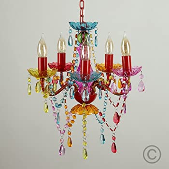 Modern Gypsy Multi-Coloured 5 Way Mini Marie Therese Ceiling Light .
