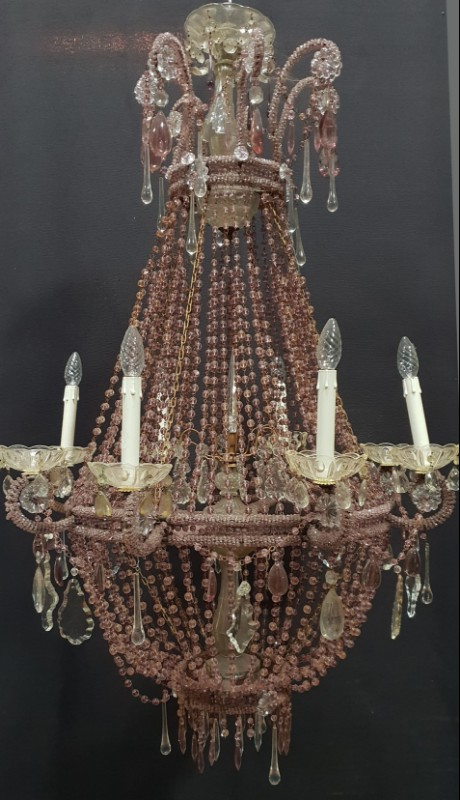 Big coloured pearls tent and bag chandelier - CHANDELIERS .