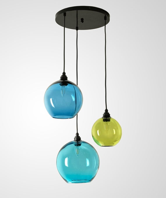 3 Light Pendant. Multi Pendant Chandelier. Multi Coloured | Et