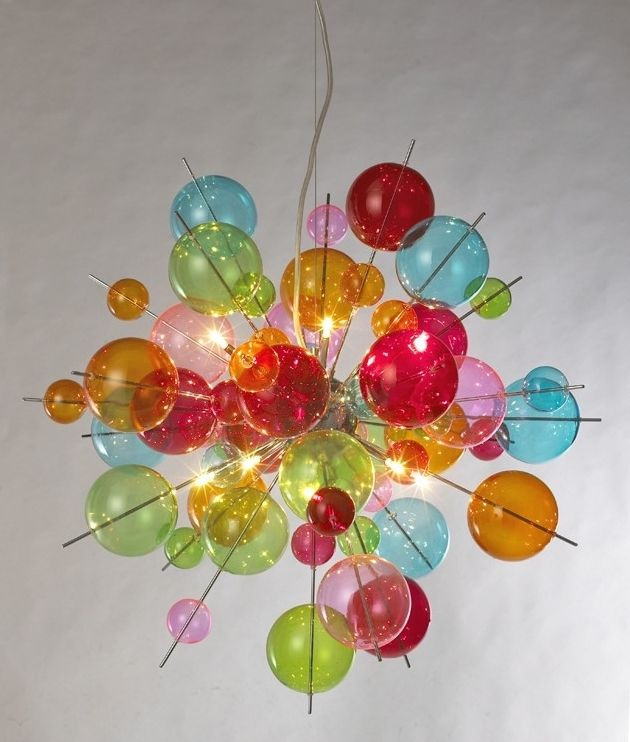 Multi-Coloured Bauble Explosion Acrylic Chandelier | Colorful .