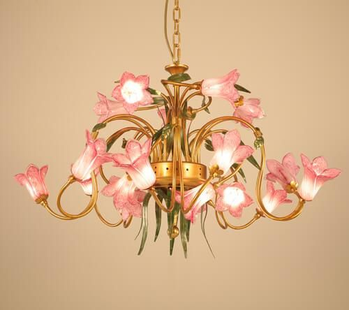 Art glass lily flower chandeliers lamp handmade coloured glass .