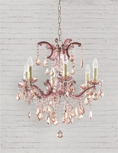 PARISIAN PETAL PINK CHANDELIER - Rose-coloured glass casts a .