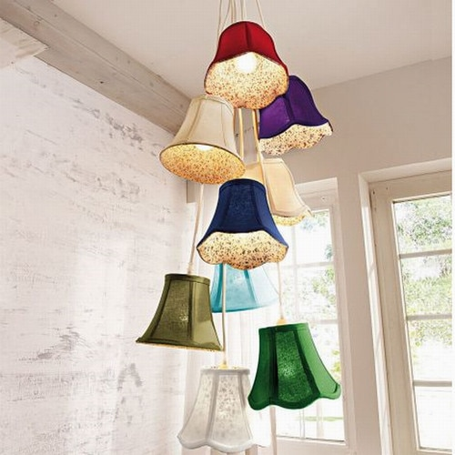 G4 Modern hanging Clusters colourful fabric shade LED chandeliers .