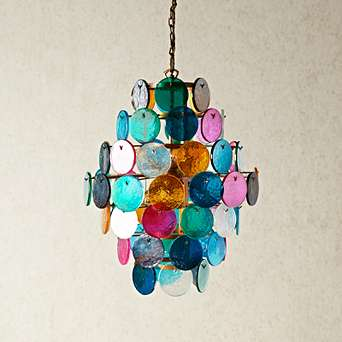Orb Chandelier with multi coloured glass roundels Pendant Ligh