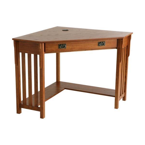 Unbranded 48 in. Medium Oak Corner 1 -Drawer Computer Desk with .