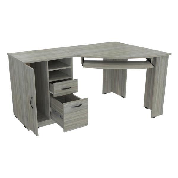 Inval 59.45 in. Smoke Oak Corner 2 -Drawer Computer Desk with .