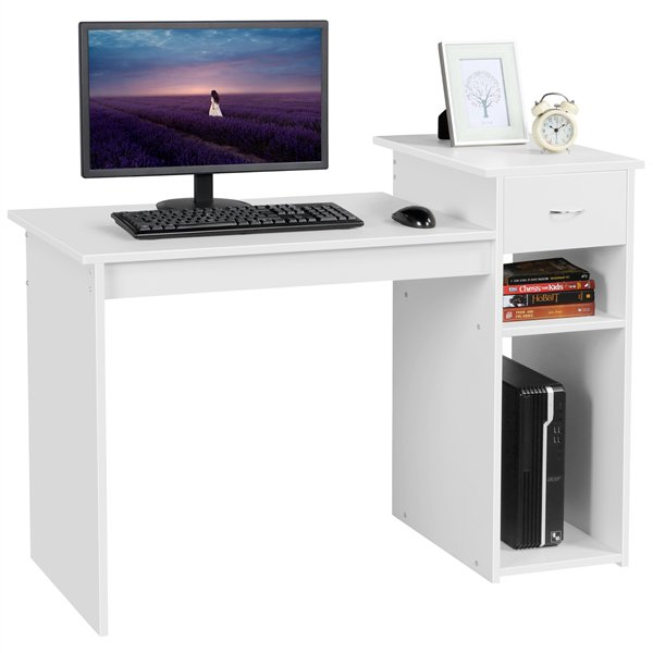 Small Wood Computer Desk with Drawers and Storage Shelves .