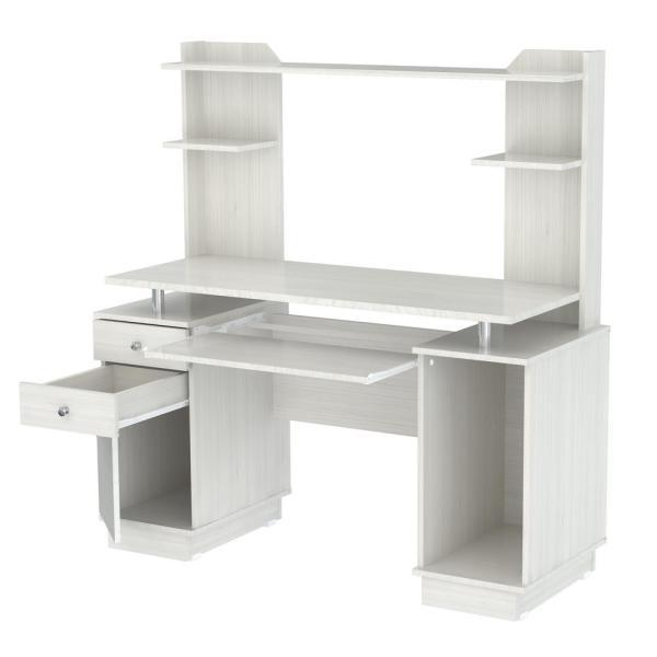Inval 59.45 in. Washed Oak Rectangular 2 -Drawer Computer Desk .