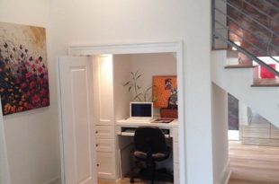 White Computer Desk in Small Home Office Design under Stairs .