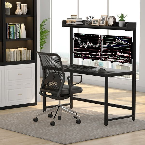 Shop Computer Desk with Dual Monitor Mount and Hutch, 55 inch .