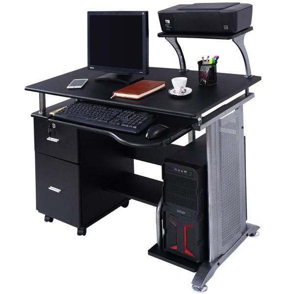Black Computer Desk with Printer Shelf - Desks - Office Furniture .