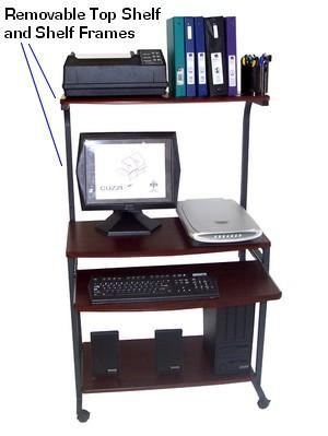 STS-7801 Compact Portable Computer Desk w/ Hutch Shelf & Keyboard .