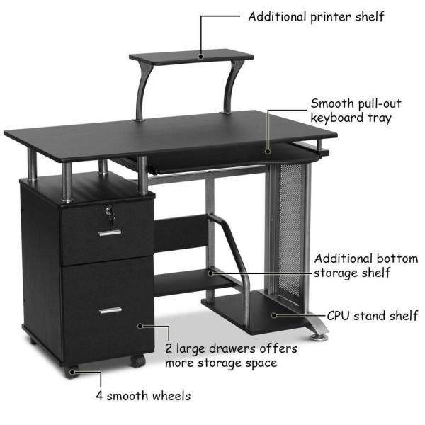 Costway 24 in. Rectangular Black 2 Drawer Computer Desk with Solid .