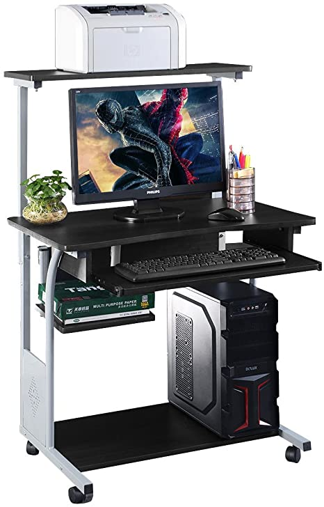 Amazon.com : Computer Desk w/ Printer Shelf Stand Rolling Laptop .