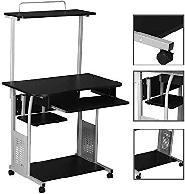 Amazon.com: Cirocco 2 Tier Rolling Computer Desk with Printer .