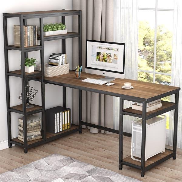 "Shop 67"" Reversible Large Computer Desk with 9 Storage Shelves ."