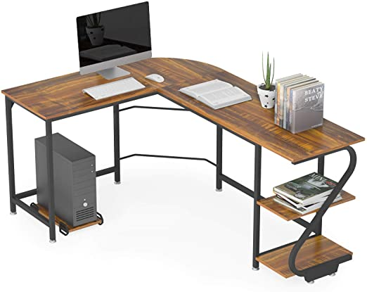 Amazon.com: WeeHom Reversible L Shaped Desk with Shelves Modern .