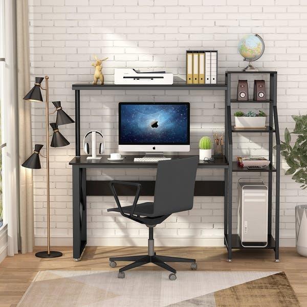 Shop Computer desk with 4-tier storage shelves Worksaton Desk .