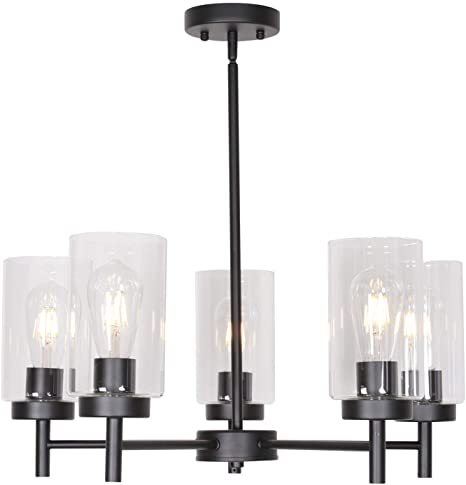 VINLUZ 5 Light Contemporary Chandeliers Black Modern Lighting .