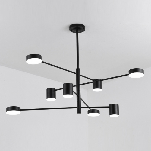 Mid Century Modern 8 Light LED Chandelier with Rotatable Arms in .