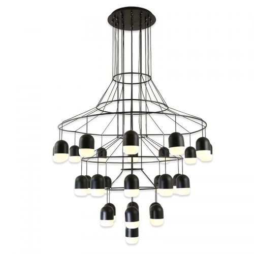 Modern Black 25 Lights Large LED Round Chandelier for Foyer Height .