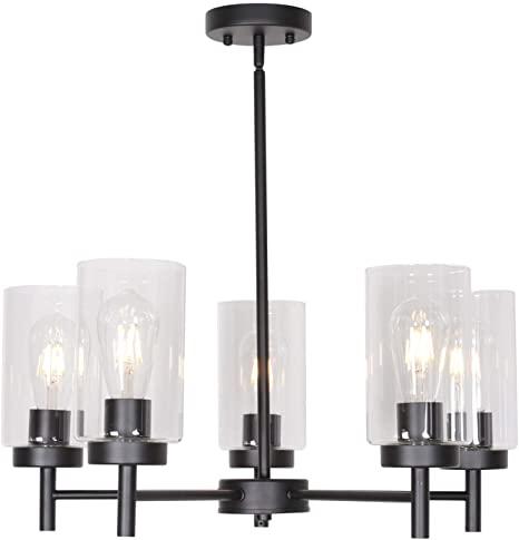 VINLUZ 5 Light Contemporary Chandeliers Black Modern Lighting .