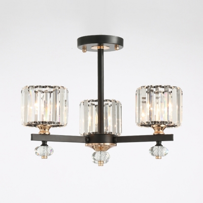 Clear Crystal Cylinder Pendant Lamp 3/6/8 Lights Contemporary .