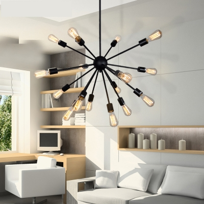 Contemporary Chandelier with Edison Bulbs in Wrought Iron Style .