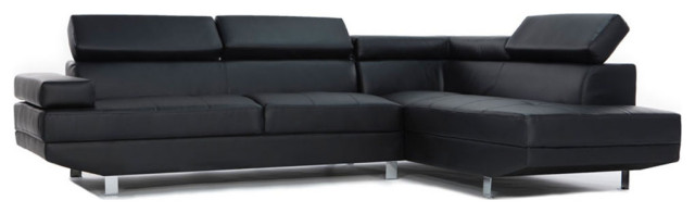 2-Piece Modern Faux Leather Sectional Sofa With Functional Armrest .