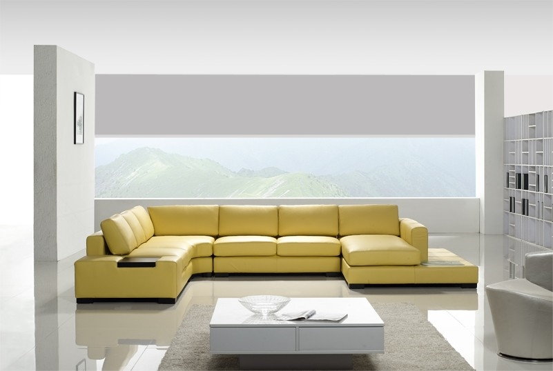 Modern Yellow Leather Sectional Sofa TOS-LF-2029-Y