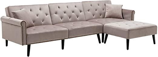 Amazon.com: HOMEFUN Sectional Sleeper Sofa Bed, Convertible .