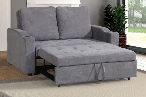 16579 Convertible Sectional Sofa In Grey Fabr