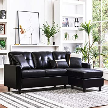 Amazon.com: HONBAY Convertible Sectional Sofa Couch Faux Leather L .