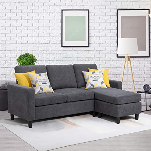 Amazon.com: Walsunny Convertible Sectional Sofa Couch with .