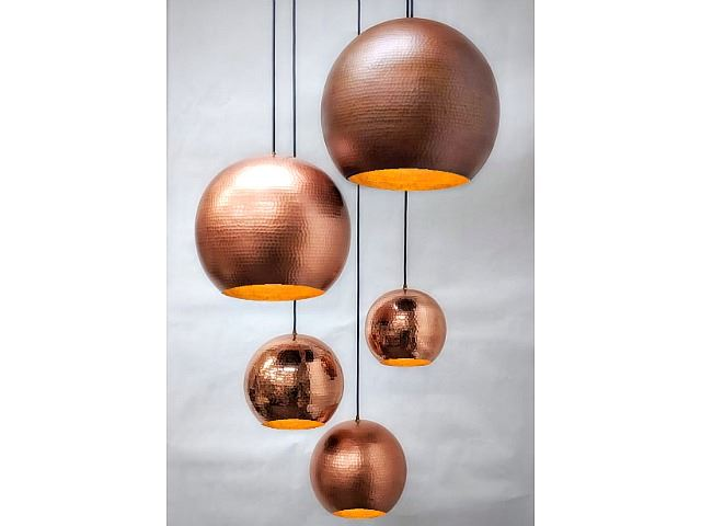 Copper Globe Pendant Chandelier | Artisan Crafted Lighti
