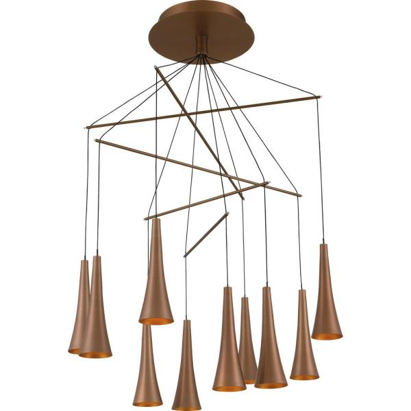 Quoizel Nexus Integrated LED Satin Copper Chandelier-PCNX5010SG .