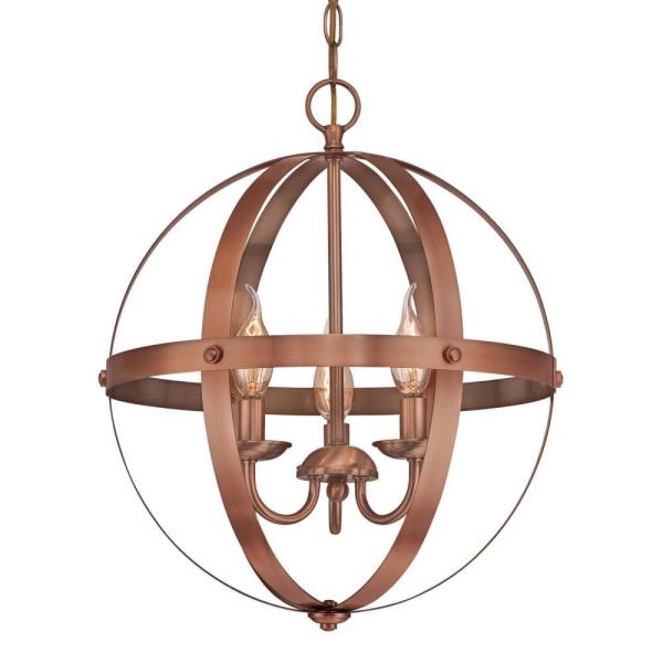 Westinghouse Stella Mira 3-Light Washed Copper Chandelier-6353500 .