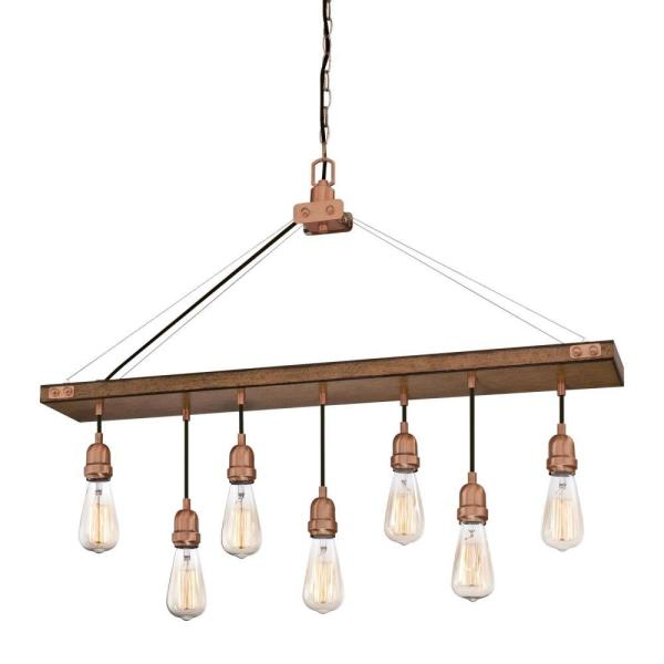 Westinghouse Elway 7-Light Barnwood with Washed Copper Chandelier .