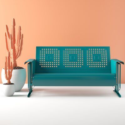 Hashtag Home Corentin Patio Sofa Colour: Turquoise Gloss | Patio .